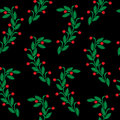 Embroidery stitches imitation seamless pattern with green leaf a