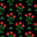 Embroidery stitches imitation seamless pattern with little red r