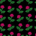 Embroidery stitches imitation seamless pattern with little roses