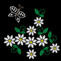 Embroidery stitches imitation white flower, butterfly and green