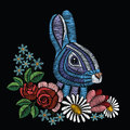 Embroidery stitches with rabbit, roses, chamomile, myosotis in p
