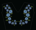 Embroidery stitches with tulipa humilis and hepatica flower in p