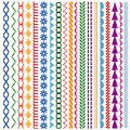 Embroidery stitches vector seamless patterns and borders set Royalty Free Stock Photo