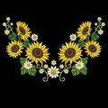 Embroidery sunflowers and daisy flowers
