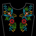 Embroidery with swallow bird, wild flowers for neckline. Vector