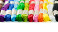 Embroidery thread colorful isolated on white background Stock Photos