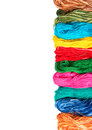 Embroidery thread skeins of different colors Royalty Free Stock Photo