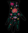 Embroidery trend ethnic floral pattern on glove design. Royalty Free Stock Photo
