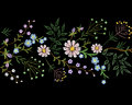 Embroidery trend floral border small branches herb leaf with little blue violet flower daisy chamomile. Ornate