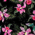 Embroidery trend floral seamless pattern with orchids and butter