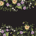 Embroidery trend seamless pattern with lilies of the valley and