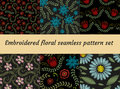Embroidery trendy floral seamless pattern. Flowers ornament endless background, texture. Vector illustration. Royalty Free Stock Photo
