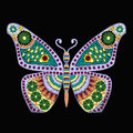 Embroidery Vector pattern with butterfly on black background Royalty Free Stock Photo