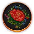 Embroidery vintage flower bouquet cross stitch w retro wood hoop with needlework sewing design antique in vivid colors isolated on Stock Photography