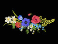 Embroidery vintage flowers bouquet of poppy, daffodil, anemone,