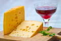 Emental cheese and wine Stock Photography