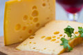 Emental cheese and wine Royalty Free Stock Photography