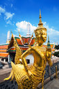 "The emerald buddha wat phra kaew bangkok landm statue of ""kinnara"" or ""kin nari"" half human and half horse at or temple of Royalty Free Stock Photography"