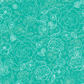 Emerald green floral lineart seamless pattern vector with hand drawn flowers on light pink background Royalty Free Stock Photos
