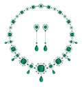 Emerald jewelry an and diamond necklace and a matching pair of earrings Stock Image