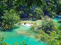 Emerald pond at plitvice national park scenic view and beautiful nature croatia Stock Photos