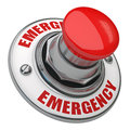 Emergency button rugged metal screwed on white background Royalty Free Stock Photography