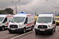 Emergency cars at First Moscow Parade of City Transport Royalty Free Stock Photo