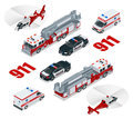 Emergency concept. Ambulance, Police, Fire truck, cargo truck, helicopter, emergency number 911. Flat 3d isometric