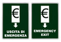 Emergency exit from the euro eurozone aka euro zone sign comment on italian financial situation Stock Photos