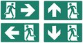 Emergency exit green label isolated vector illustration left right up down set Stock Photo