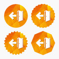 Emergency exit sign icon. Door with left arrow. Royalty Free Stock Photo