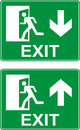 Emergency exit up and down signs. Royalty Free Stock Photo