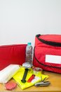 Emergency kit survival for disaster release including water first aid lighter bags utility knife and others Stock Image