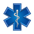 Emergency medical symbol services or vector art ems star of life Stock Images