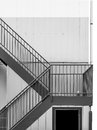 Emergency metal staircase at building exterior Royalty Free Stock Photo