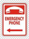 symbol Emergency Phone (Left Arrow) Sign on transparent background Royalty Free Stock Photo