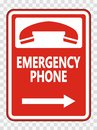 symbol Emergency Phone (Right Arrow) Sign on transparent background Royalty Free Stock Photo