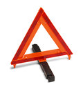 Emergency road sign triangle reflector hazzard on white background Stock Photo