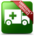 Emergency services green square button Royalty Free Stock Photo