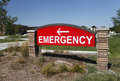 Emergency sign bright red at hospital Royalty Free Stock Photo