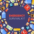 Emergency Survival Kit Banner Template with Travel Necessities Seamless Pattern Vector Illustration