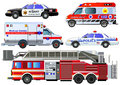 Emergency transport icons set. Vector set, isolated