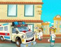 The emergency unit the ambulance illustration for the children beautiful and colorful of an Stock Image