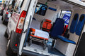Emergency vehicle ambulance on marathon ambulance interior details belgrade th belgrade sunday april st Stock Photography