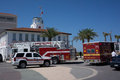 Emergency vehicles jacksonville beach fl may at the life guard station lifeguards with jacksonville beach ocean rescue saved two Stock Photo