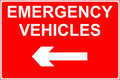 Emergency vehicles sign road traffic Stock Photos