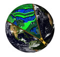 Emerging world electronics support the today is supported by the ever evolving the zipper is uncovering the earth to show the Stock Images