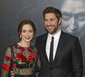 Emily blunt and john kasinski british film actress husband american tv film actor arrive on the red carpet for the world Stock Image