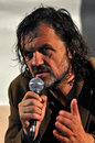 Emir kusturica movie director and musician from serbia answering questions during the press conference after his live concert cluj Stock Photos