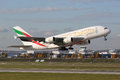 Emirates airbus a munich germany october an superjumbo with the registration eee taking off from munich airport muc in germany Stock Photos